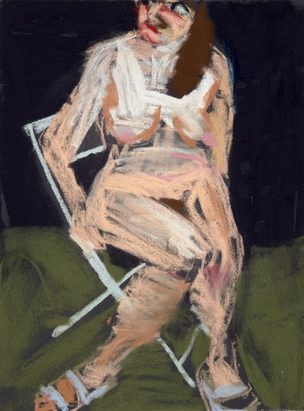 Chantal Joffe, Self-Portrait in the Garden at Night III, 2016, Pastel on paper, 40x30cm, Photographer: Angel Gil, courtesy of Galerie Forsblom