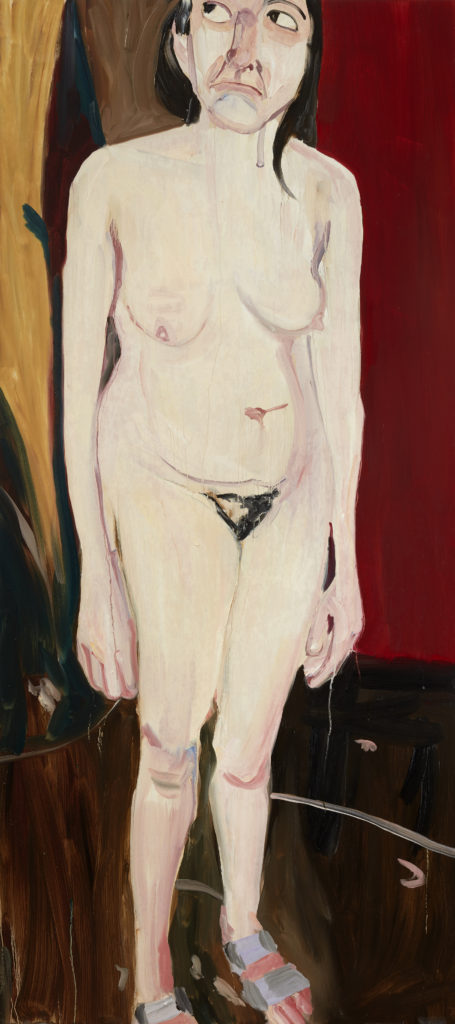 Chantal Joffe Standing Self-Portrait, 2016 Oil on board 201.6 x 90 x 6 cm Photographer: Angel Gil, courtesy of Galerie Forsblom