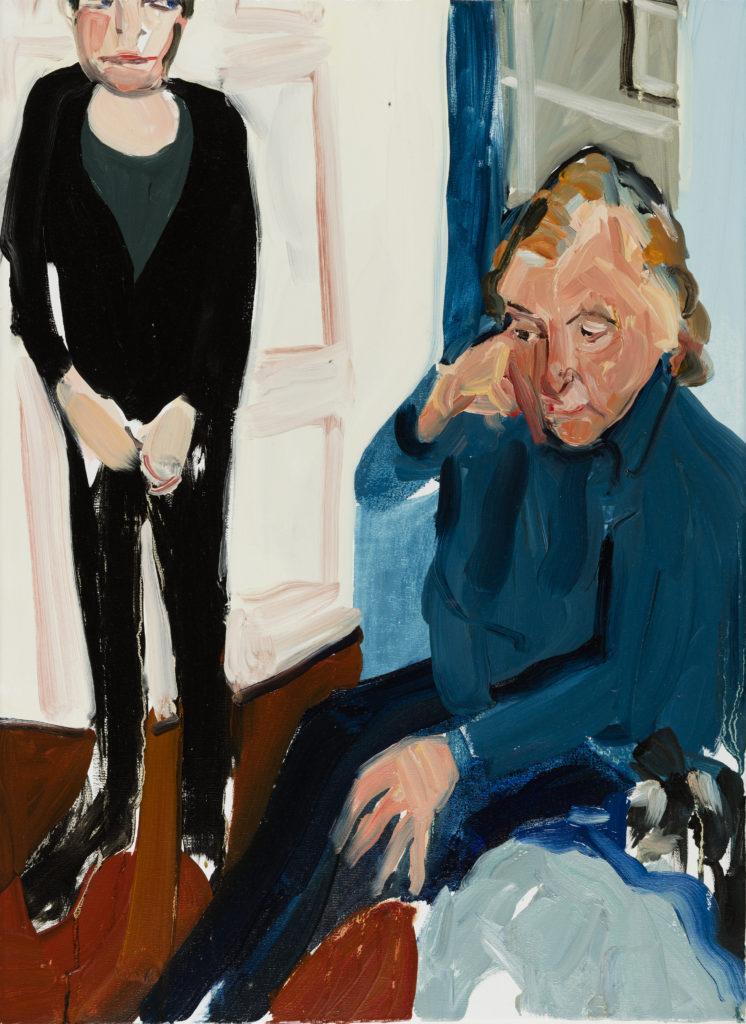 Chantal Joffe The Conversation II, 2016 Oil on canvas 55 x 40.5 cm Photographer: Angel Gil, courtesy of Galerie Forsblom
