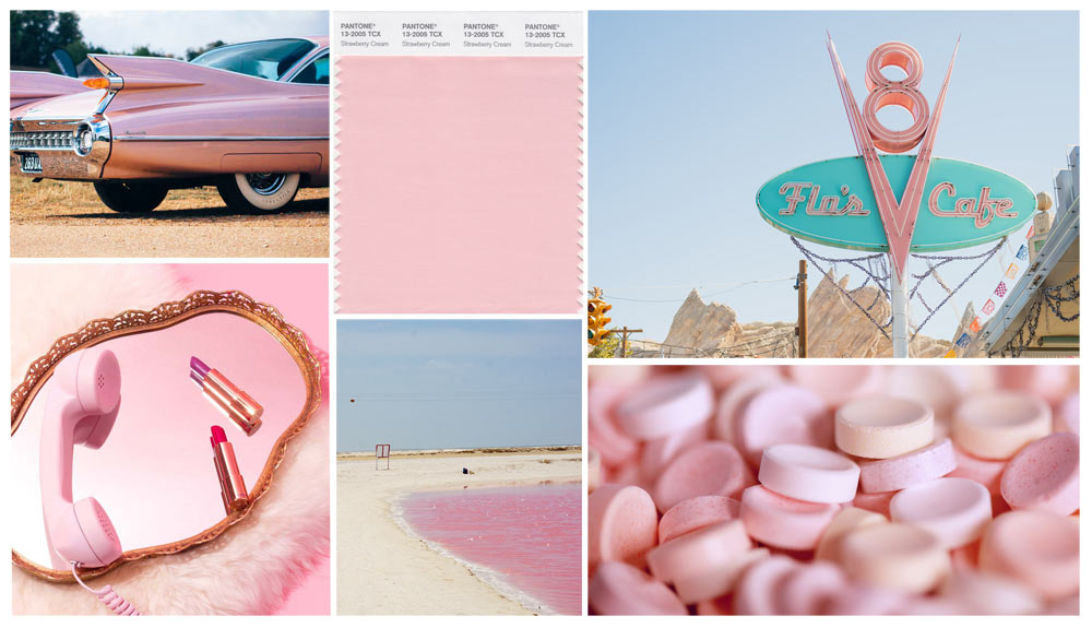 Pantone Strawberry Cream Collage